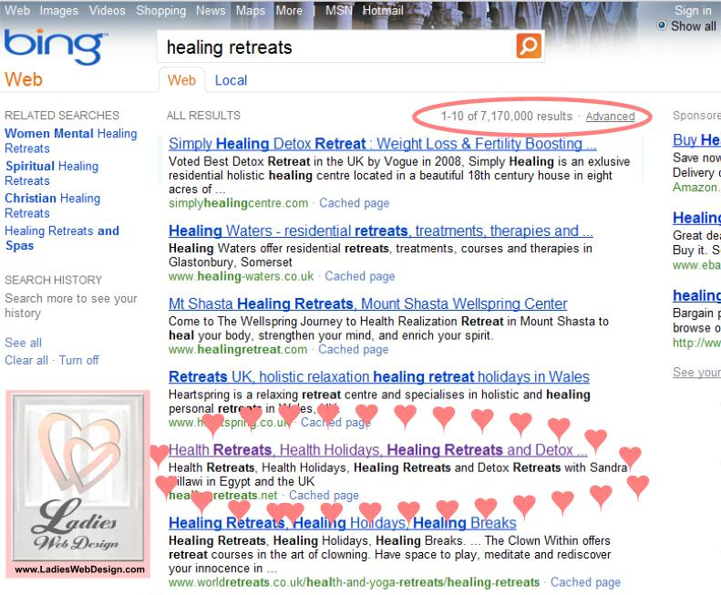 Bing success for healing retreats net - first page, rank no 3